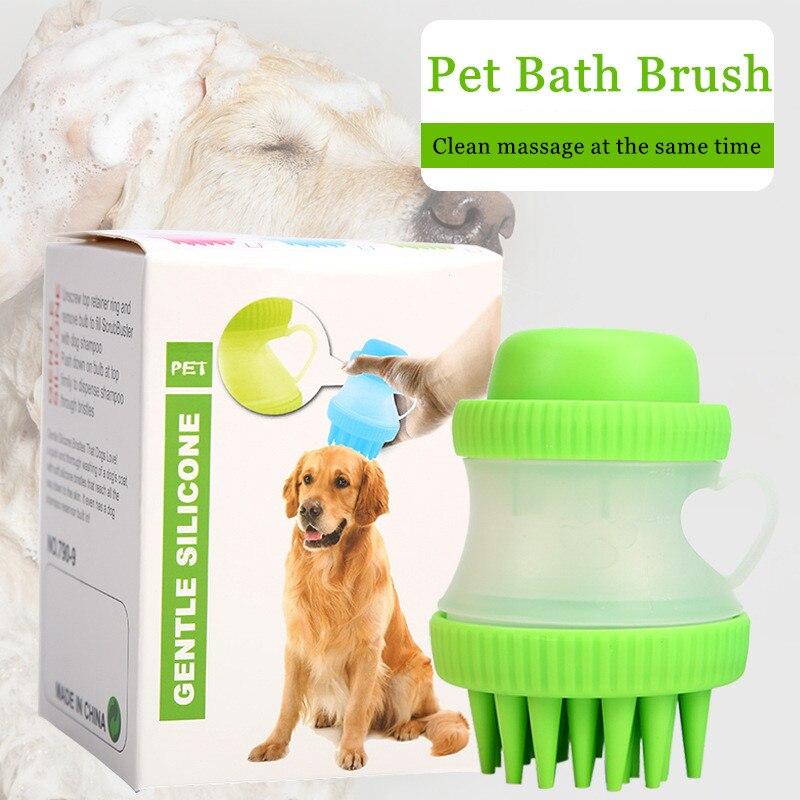 Brosse de bain pour chien peigne nettoyage bain Massage chien chat SPA brosse shampooing toilettage multifonction Silicone brosse pour animaux de compagnie outils de bain pour chien