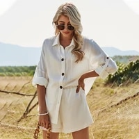 womens summer comfort and casual suit 2021 long sleeve white shirt top cotton linen shorts