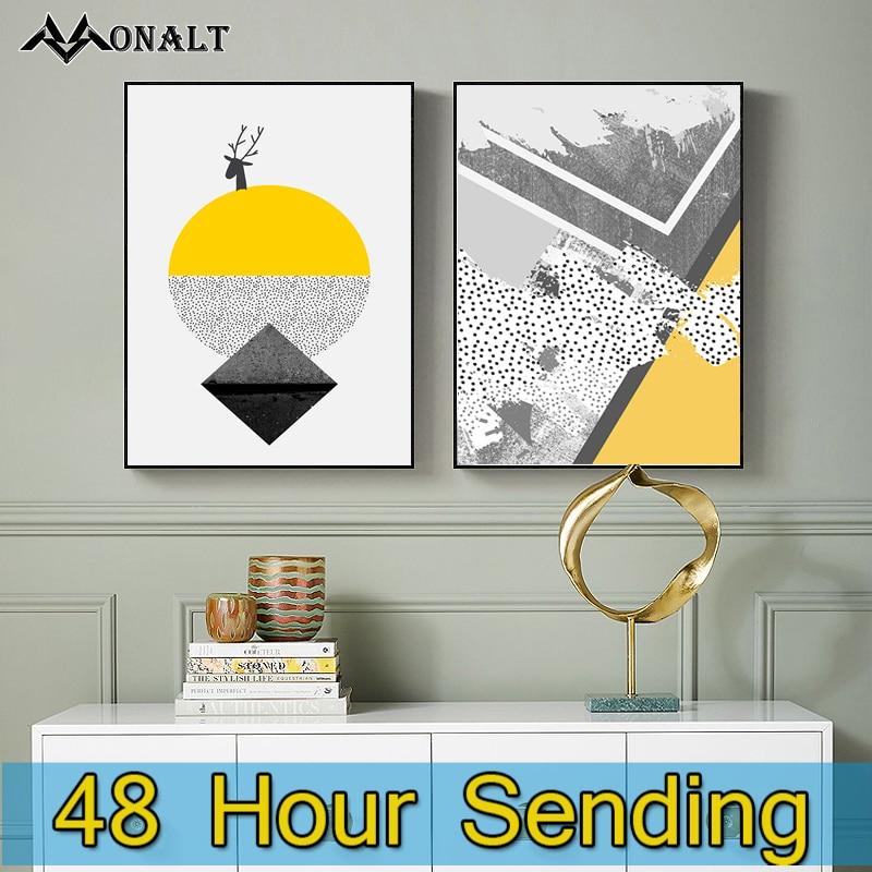 Póster geométrico abstracto amarillo de lona, impresiones de estilo nórdico en la...