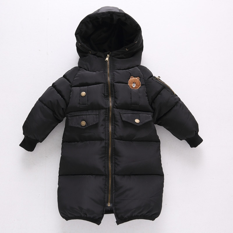 Children's Clothing Jacket Winter Cartoon Mid-length Hand-plug Cotton Padded Coat for Boys and Girls Baby Padded Coat