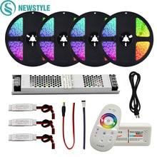 RGB/RGBW/RGBWW su geçirmez/olmayan su geçirmez led şerit seti SMD 5050 DC12V led ışık + 2.4G RF uzaktan kumanda denetleyici + ince güç adaptörü kiti