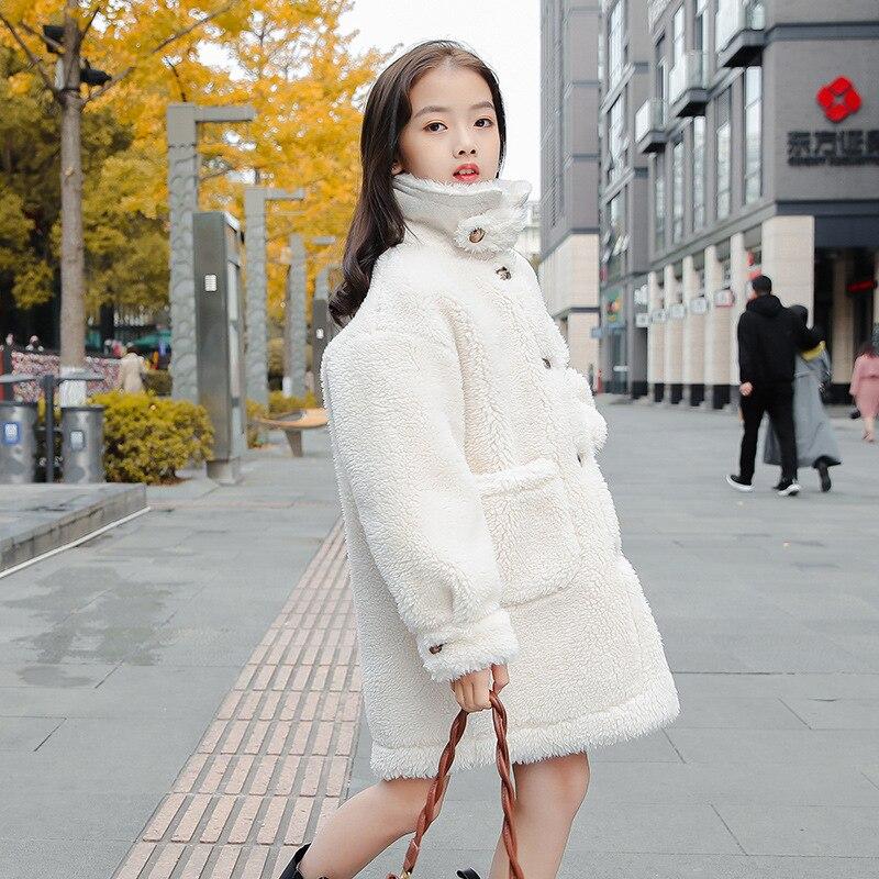 Girls Granular Wool Lamb Wool Coat Winter 2021 New Children's Clothing Fur Shearing Warm Jacket Kids High collar Overcoat enlarge