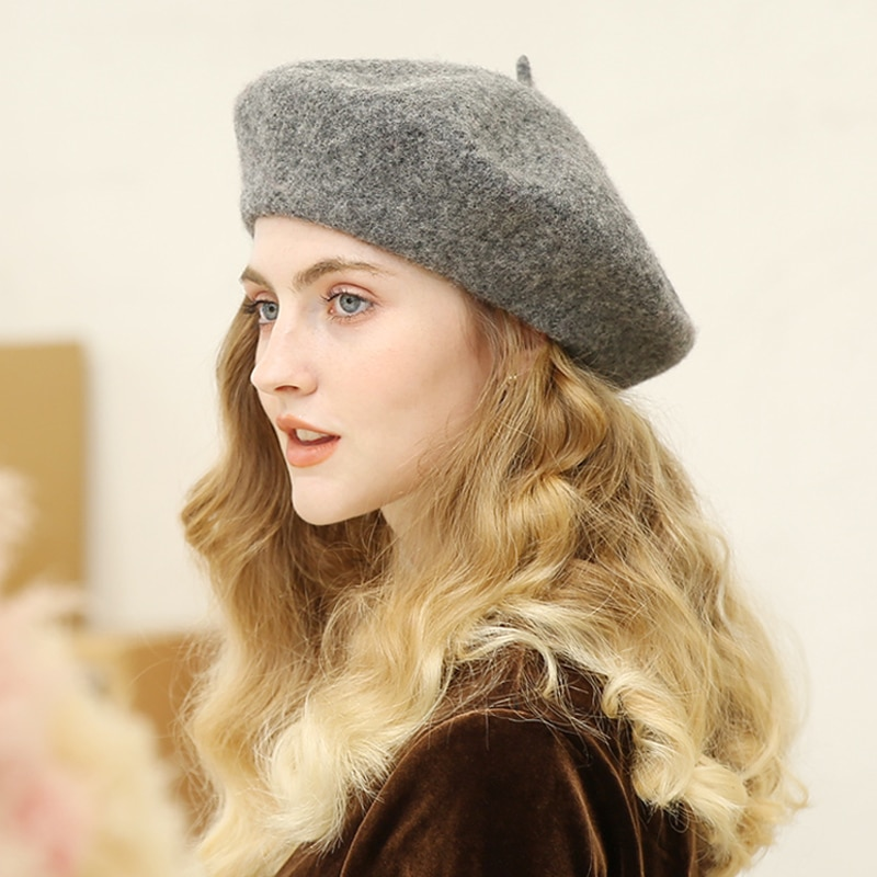 Wool Beret Hats Women Winter French Hat Girls Solid Color Fashion Autumn Winter Beret Hat For Women Flat Cap Hat Felt Berets european and american autumn and winter new letter embroidery wool beret hat painter hat lady fashion warm berets women