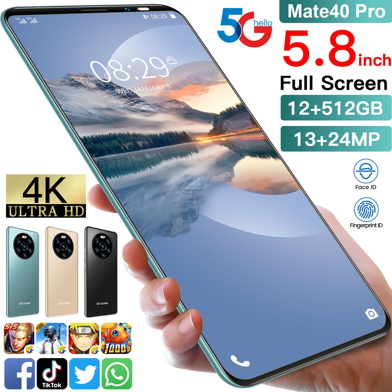 TEMK Mate40pro 4GB RAM 64GB ROM Smart Phone 5.8 Inch Andriod Face Unlock 4800mAh 13+34MP MTK6889 Andriod 10 Cellphones Global