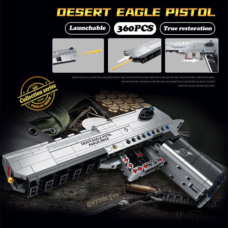 desert eagle pistol pistol gun military ww2 building blocks bricks kit gun series moc toy for boys