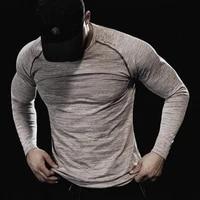 men long sleeve tshirt bodybuilding shirt o neck quick dry t shirt sports workout t shirt men casual clothing