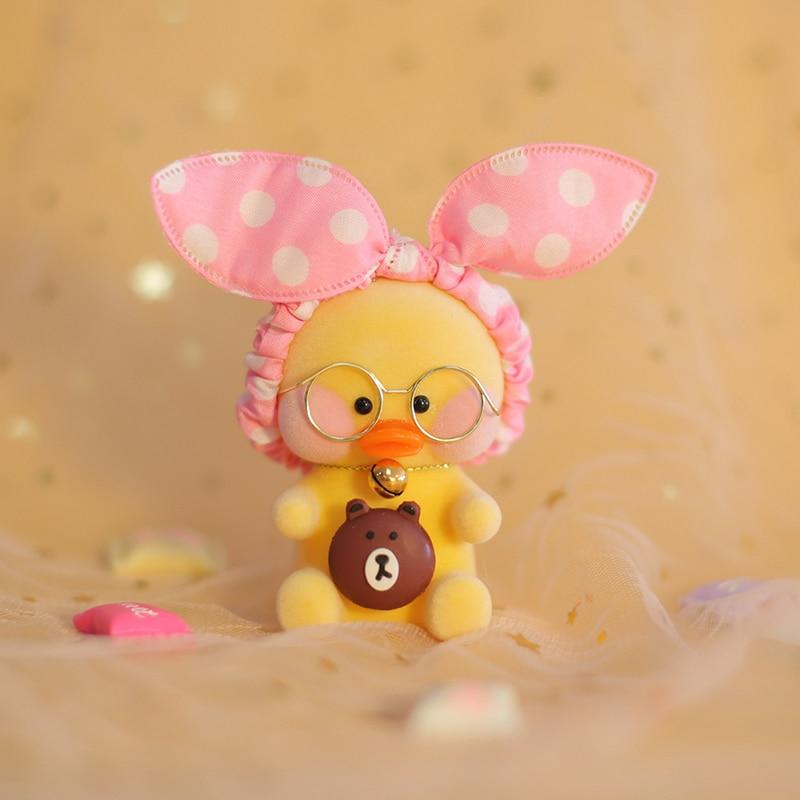 Neue Lalafanfan Nette Keychain Kawaii Cafe Mimi Gelb Ente Action Figure Schlüsselring Taschen Dekoration Spielzeug Für Kinder Mädchen Geschenk