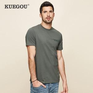 KUEGOU brand Men's short sleeve T-shirt men fashion leisure round neck Printe 100% cotton  t shirt men Summer Tops size LT-26030