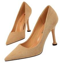 2020 femmes 9.5cm talons hauts vert marron OL pompes de luxe élégant talons aiguilles dame Qualiy Scarpins mariage grande taille 43 chaussures