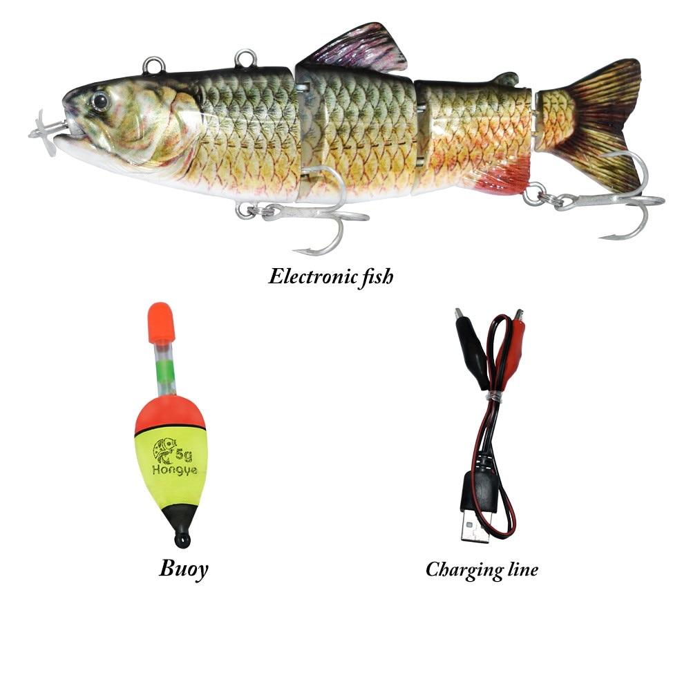Produtos isca de pesca elétrica recarregável, isca de pesca em 4 segmentos de cubo com luz led