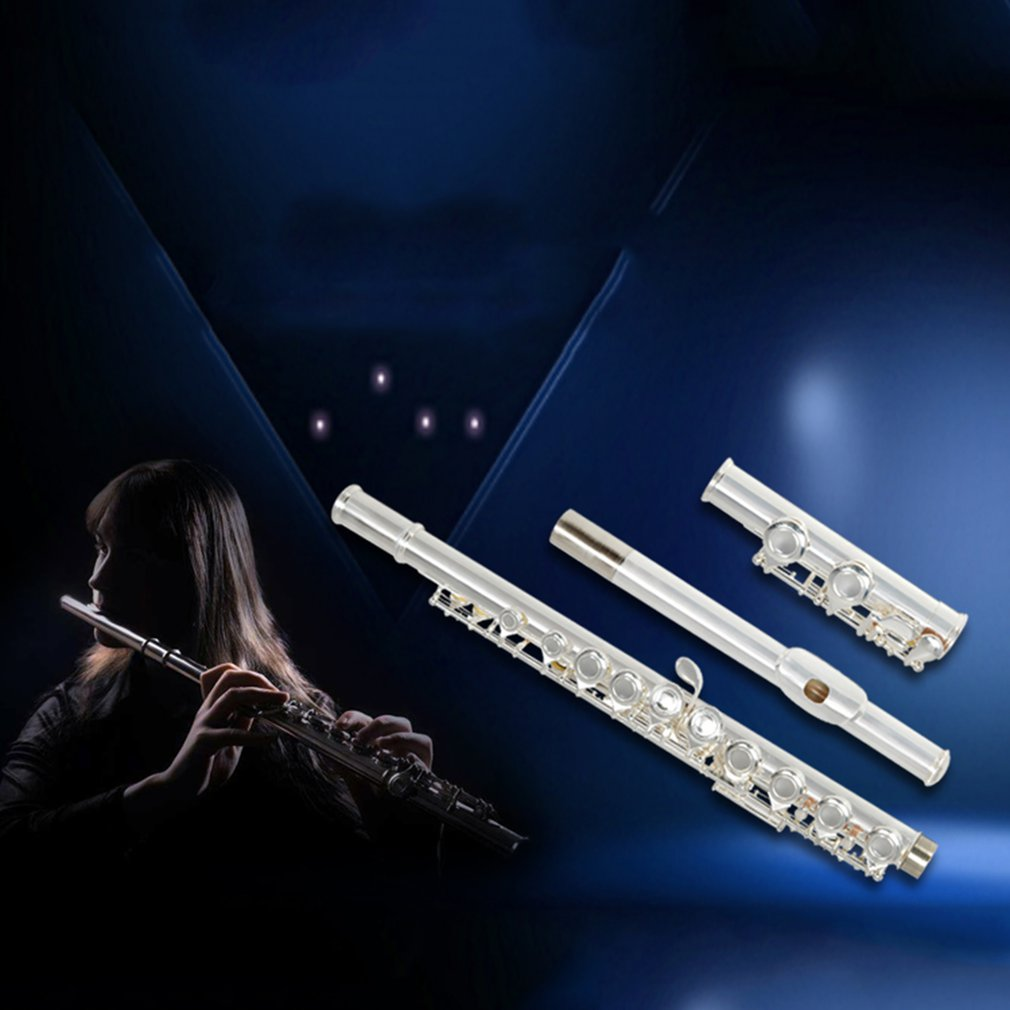 16 Closed Open Holes C Flute Cupronickel Nickel Silver Plated Concert Flute Instrument Transversal With E Key Gloves Padded Bag enlarge