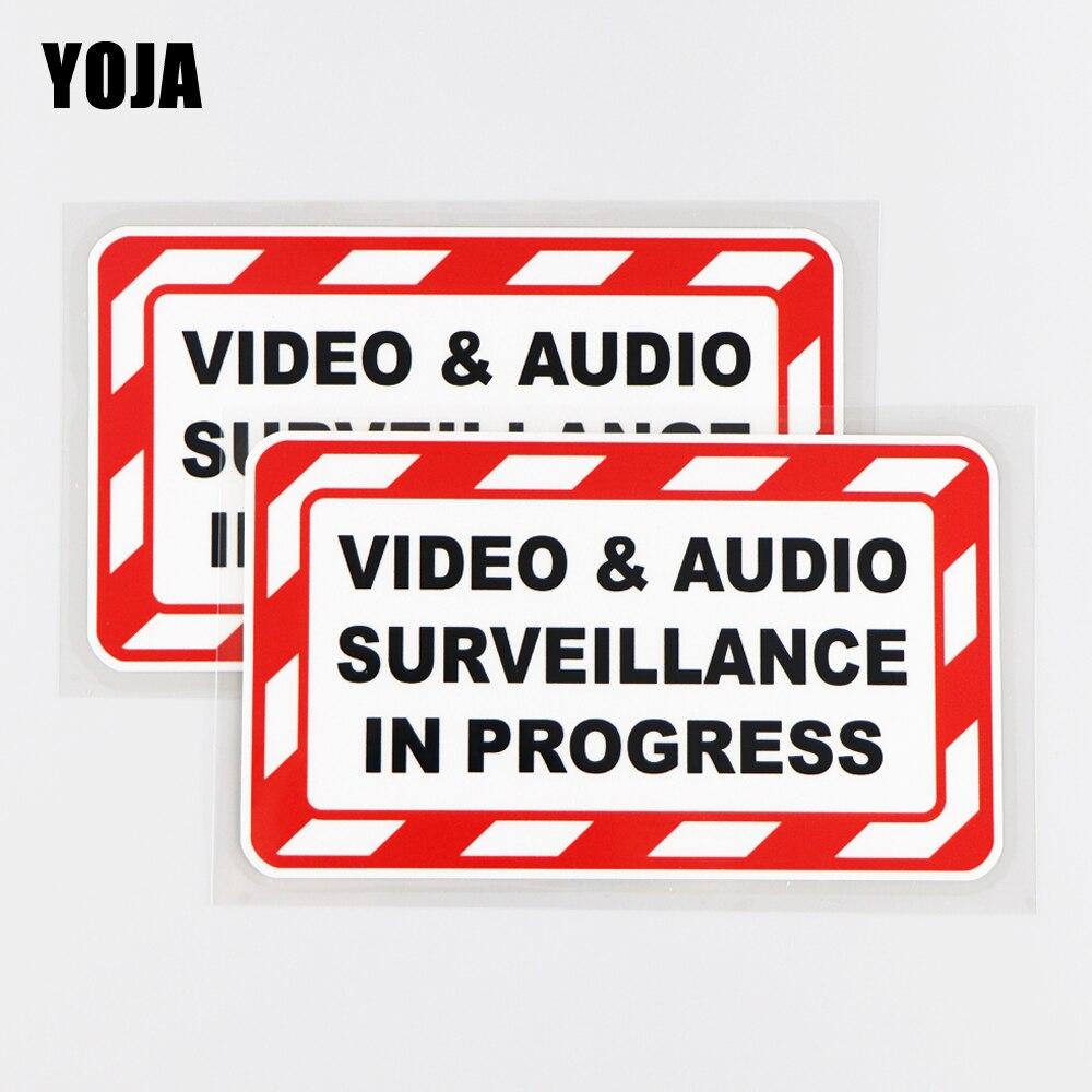 Yoja 14.9x8.5cm vídeo & vigilância de áudio em andamento etiqueta do carro decalque do vinil decoração engraçada 19a-0177