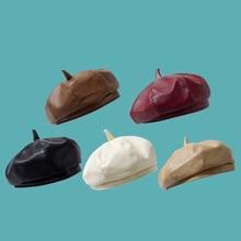 Autumn Multicolor Korean Version Of Beret PU Leather Octagonal Hat Dome Fashion Warm Basin Hat Woman