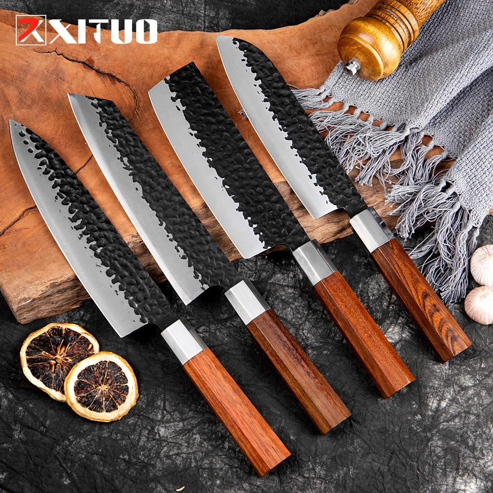 طقم سكاكين مطبخ عالي الجودة من XITUO عدد 1-4 قطعة سكاكين طهاة مقاس 8 بوصات 7 بوصات مقبض مثمن من Nakiri Santoku سكاكين فائدة للطبخ