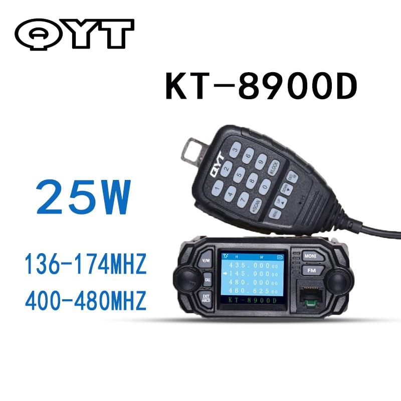QYT KT-8900D VHF UHF Mobile Radio Dual Band Autoradio FM 25W Walkie Talkie 10KM Communication distance