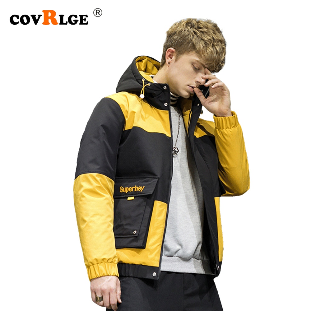 Фото - Covrlge Man Duck Down Jacket Thick Winter Warm Jacket Casual Pathwork Color Matching Hooded Down Jacket Men Coat Us Size MWY035 covrlge trendy hooded men s white duck down jacket stand collar embroidered down jacket men winter warm causal coat us mwy034