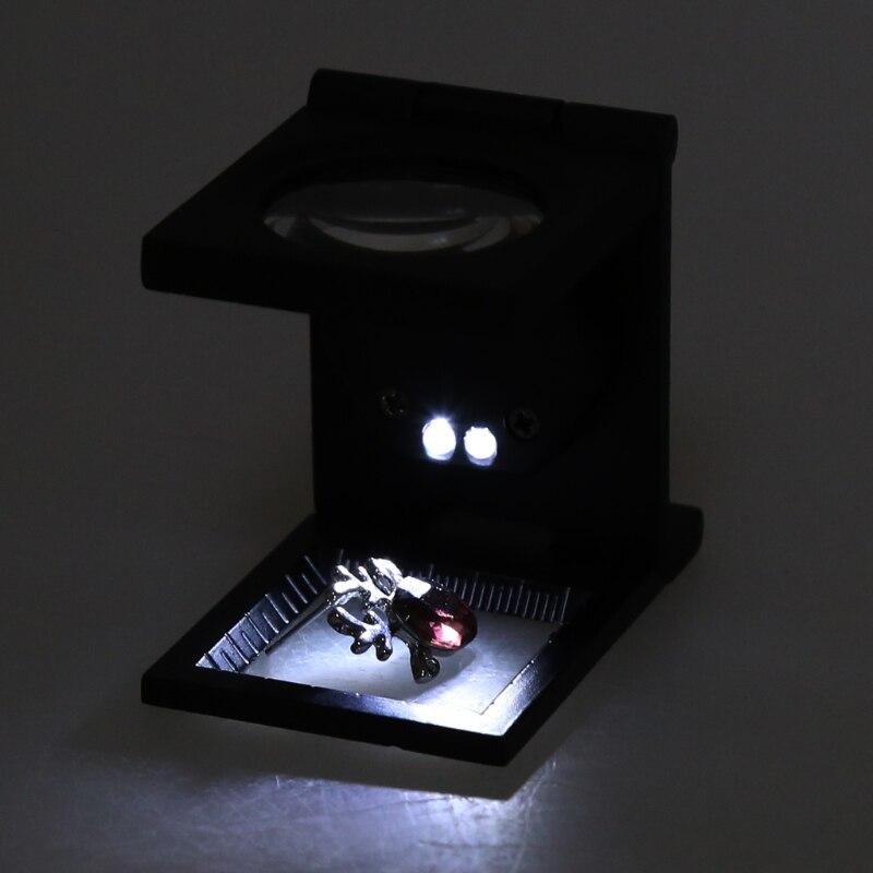 10 veces lupa de vidrio poder plegable LED Luz de escritorio lupa