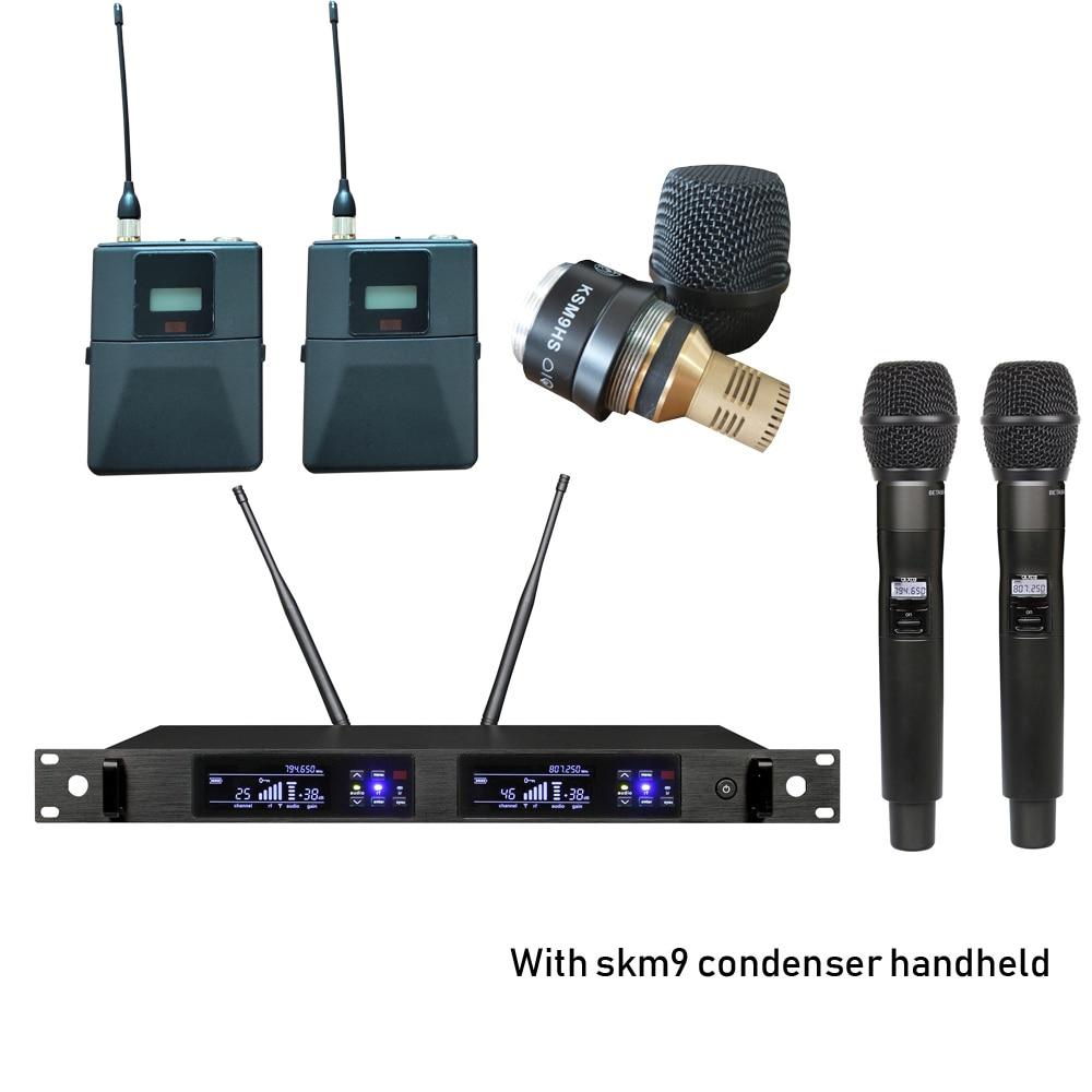 Leicozic QLX-24D ميكروفون مزدوج أنظمة لاسلكية سماعة ميكروفون ولافالير هيئة التصنيع العسكري والمكثف اليدوي ميكروفونو مكثف