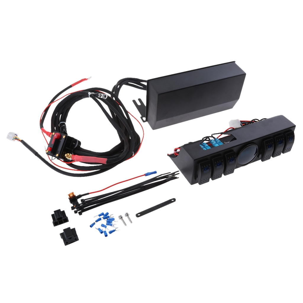 Boîte de rangement à 6 bascule pour Jeep JK   Panneau de commutation de relais, Cotrol avec voltmètre numérique