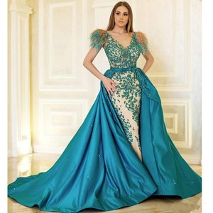2020 Detachable Train Feather Evening Dresses V Neck Beaded Overskirt Mermaid Celebrity Dress With Lining Satin Formal Gowns
