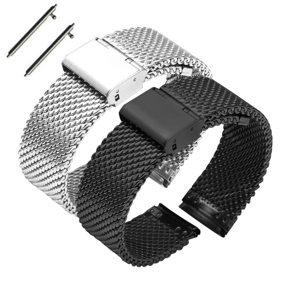 Correa de reloj de liberación rápida, correa de repuesto de acero inoxidable milanesa gruesa, 16mm, 18mm, 20mm, 22mm y 24mm