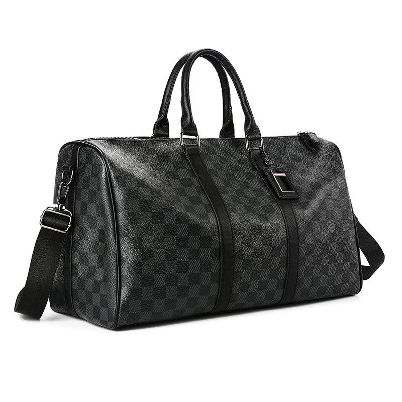 New Plaid Large Leather Travel Bag Men Handbag Crossbody Shoulder Bags Luxury Classic Fashion