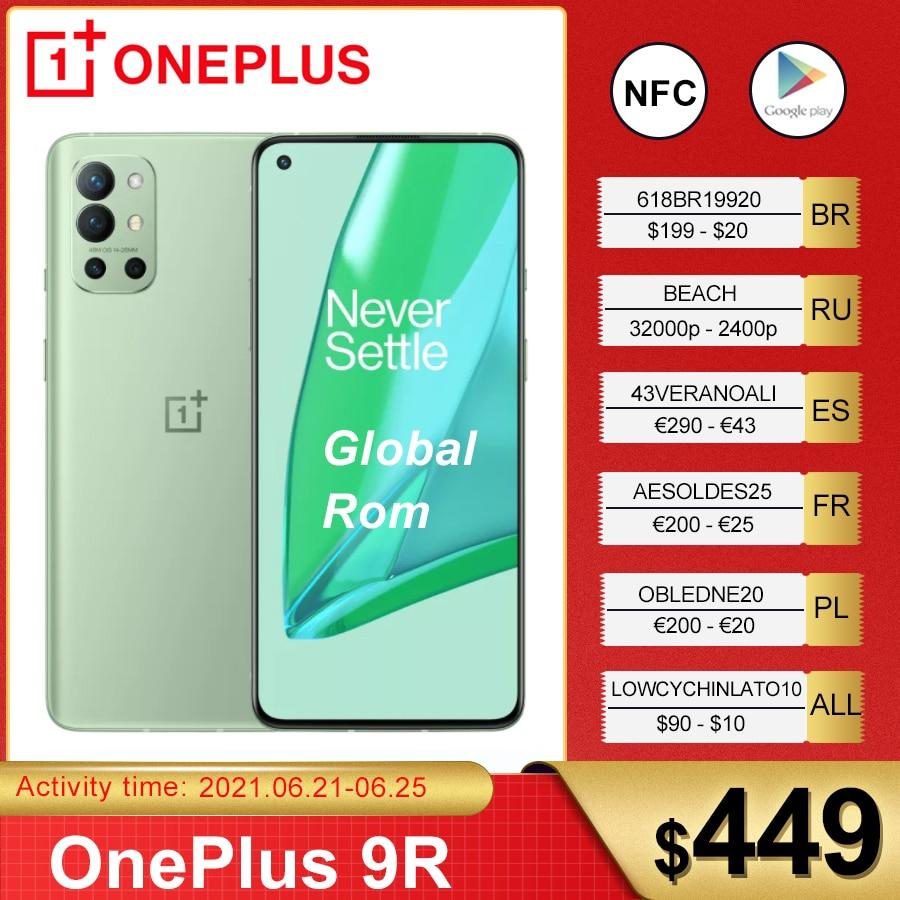 Оригинальная глобальная прошивка OnePlus 9R 5G смартфон 9 R Snapdragon 870 8 ГБ 128 6,55 дюйм 120 Гц активно-матричные осид, Экран 65 Вт Warp мобильный телефон