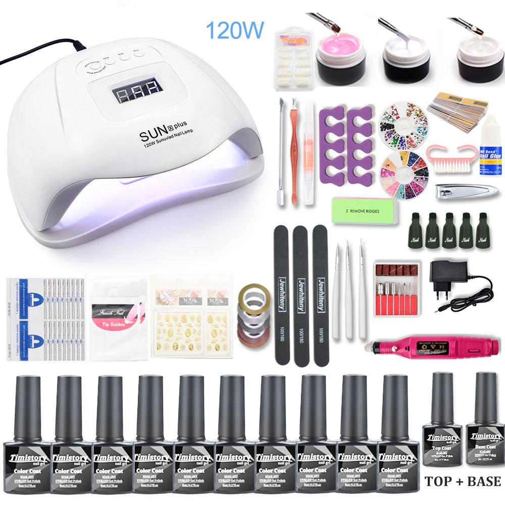 Nail Set 120W UV LED Lamp For Manicure 10pcs Gel Nail Polish Set Kit Soak Off Gel Varnish For Nail Art Set Dryer Machine Tools