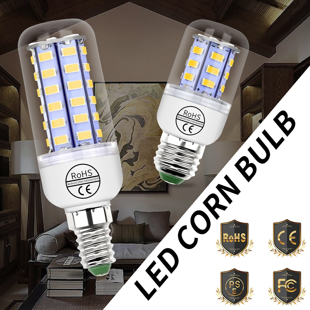 tsleen high quality 4014 smd no flicker led corn bulb e27 e14 220v led lamp light b22 g9 gu10 36 56 72 96 138leds smart power ic E27 Led Lamp E14 Led Bulb GU10 220V Lamp Corn Light Bulb G9 Candle Lamp Led Lights for Home 24 36 48 56 69 72leds Bombillas B22