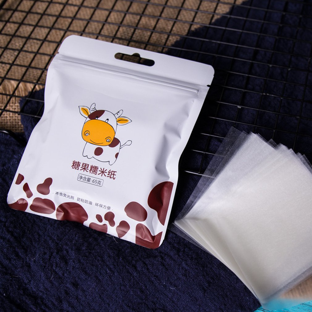 500 hojas de papel de envolver Nougat comestible papel de arroz glutinoso hornear papel de caramelo envoltura de dulces papel transparente
