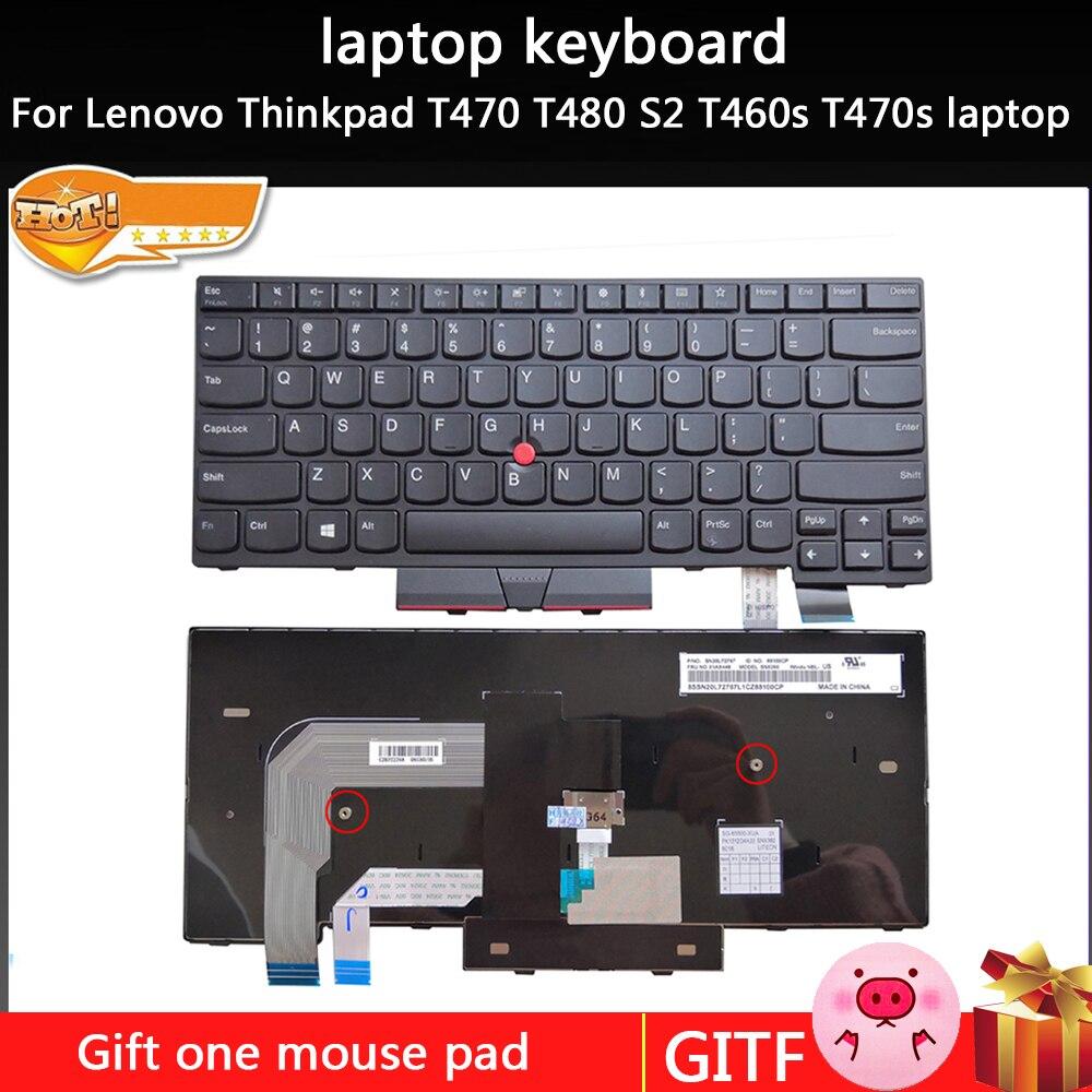 Nuevo teclado de ordenador portátil clave inglesa reemplazo para Lenovo Thinkpad T470 T480 S2 T460s T470s portátil
