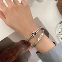 retro jewelry korean knotted fish bracelet female vintage unique design cold wind metal open punk jewelry bracelets gift