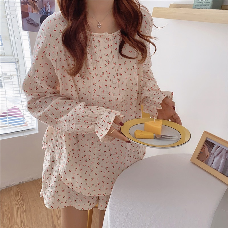 طقم بيجامة كوري من خيوط قطنية بطبعة الكرز ، ملابس نوم بأكمام طويلة ، شورت مكشكش ، ملابس منزلية مسامية ، S1029