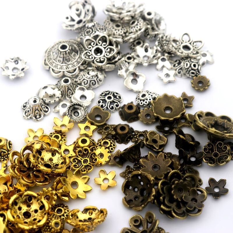 Разноцветные тибетские античные серебряные колпачки для изготовления ювелирных изделий, 150 шт., аксессуары для рукоделия, оптовая продажа