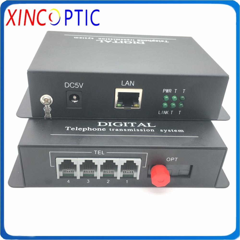 4Ch Telephone Fiber Optic Media Converter,4 Channel PCM Voice Telephone Transceiver SM,SX FC/UPC 20KM with 1Ch 10/100m Ethernet