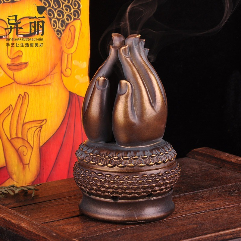 Yili Tailandia retro-nostalgia quemador de incienso budista hall room línea creativa incienso tailandés budista mano quemador de incienso