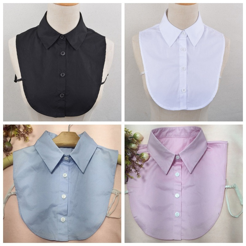 Chemise faux col pour femme   Solide, col faux détachable, dentelle ajourée, revers amovible, demi-chemise col rabattu