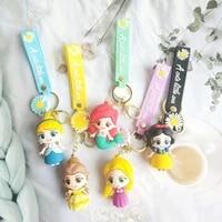 disney princesses snow white hua mermaid rapunzel bella daisy pvc keychain frozen doll figures toys