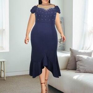 Women Bodycon Dresses Mesh Patchwork Beading Sexy Plus Size Navy Blue Ruffles Irregular Mermaid Birthday Party Robes Vestidos