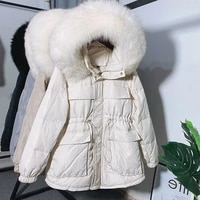 2020 winter new waist oversized feather collar down jacket womens middle and long womens small warm jacket