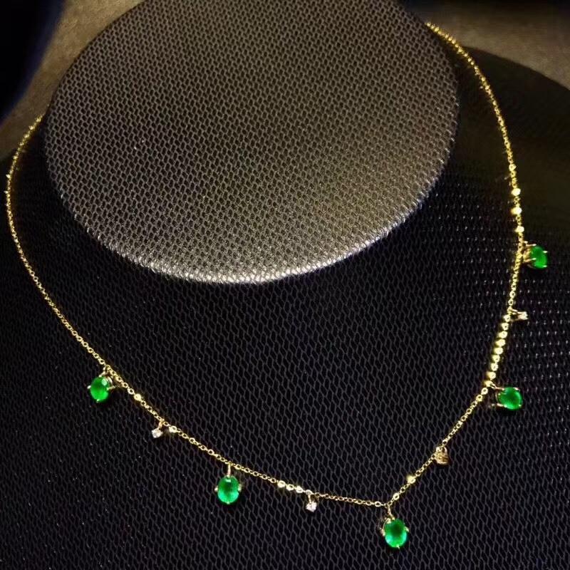 عقد بسيط وأنيق من الزمرد الأخضر الطبيعي ، قلادة من الأحجار الكريمة الطبيعية S925 ، مجوهرات فضية للبنات والنساء للحفلات