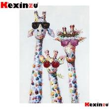 kexinzu 5d diy Diamond Painting kit Giraffe sunglasses Cross stitch Diamond Embroidery 3d  DIY 5D Di