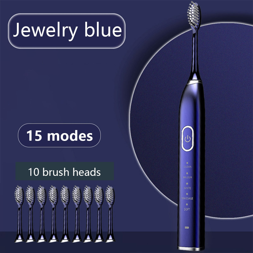 Newest Ultrasonic Electric Toothbrush Adult Timed Brush 5 Mode USB Charger Rechargeable Couple Toothbrush + Replacement Head Set