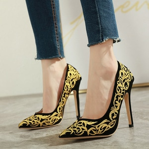 High heels pumps shoes European new embroidery fashion single shoes high heel women's shoes red bottom high heels  shoes woman