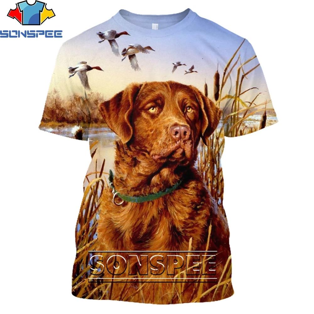 Мужские футболки SONSPEE с изображением животных, собак, охотничьих собак, с объемным рисунком, летние модные повседневные мужские футболки с к...