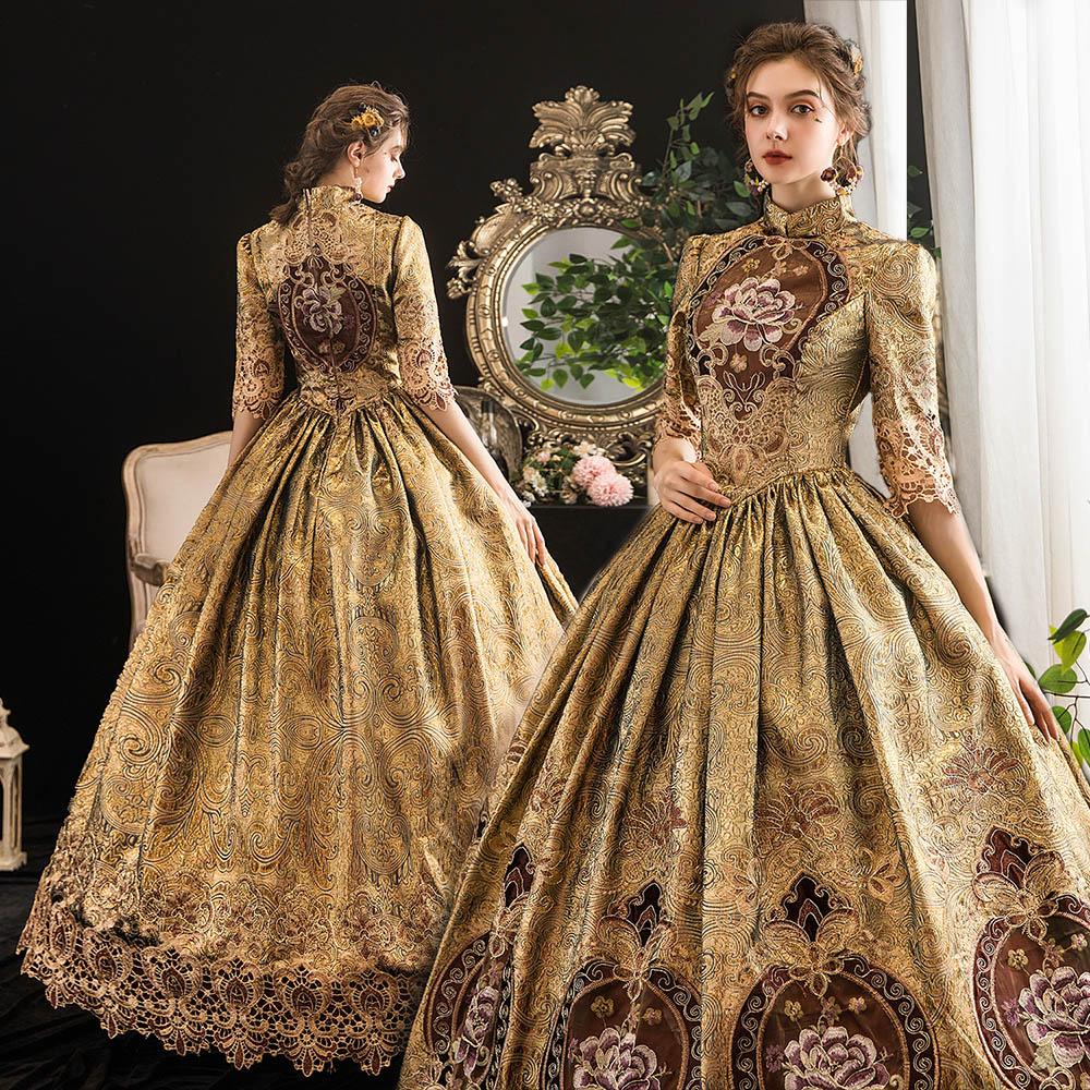 فستان الهالوين القوطي لوليتا للنساء ، زي الأميرة ، تأثيري ، الطراز الفيكتوري ، السيسي الملكي ، خمر