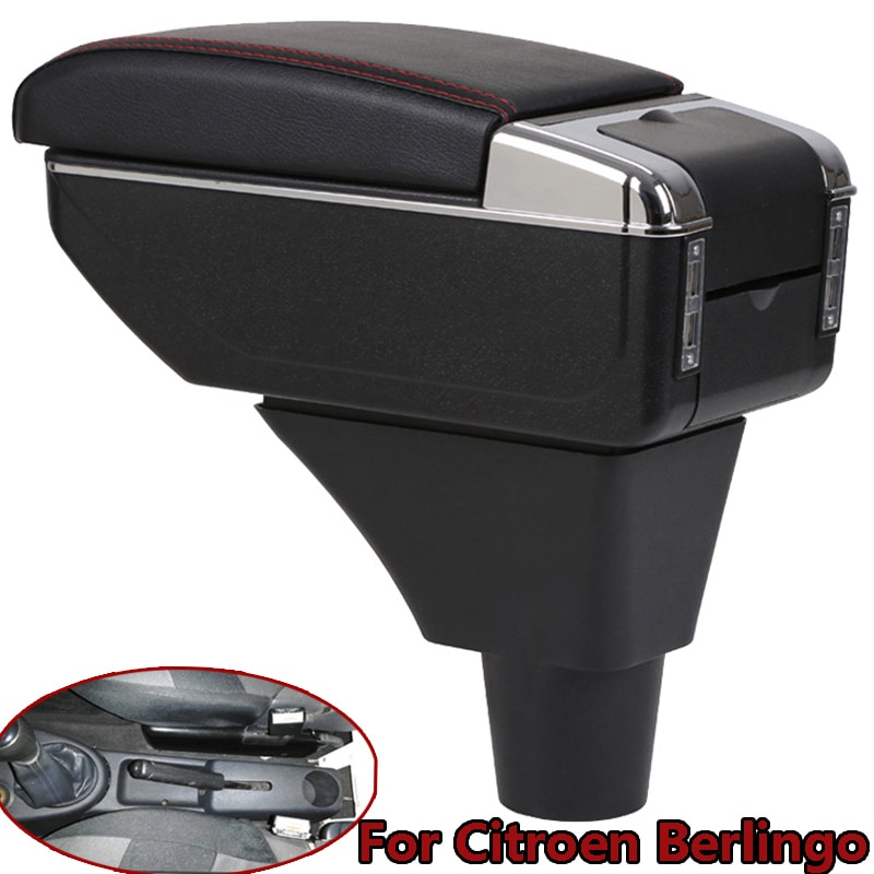 for Citroen Berlingo armrest box Car Central Armrest Storage Box USB port