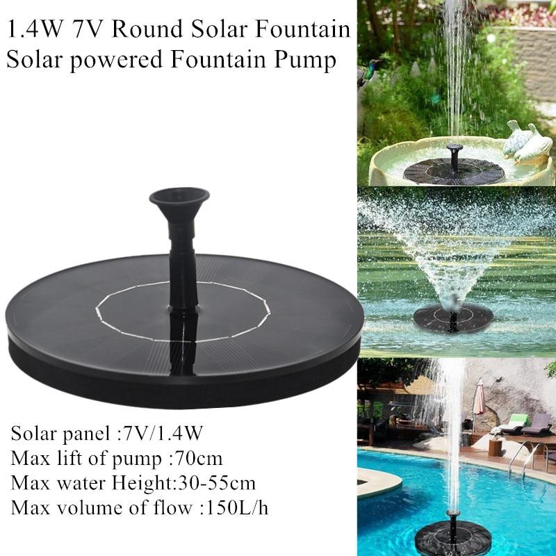 1,4 W 7V солнечный фонтан круглый солнечный фонтанный насос солнечный фонтан сад бассейн Солнечная панель фонтан плавающий фонтан
