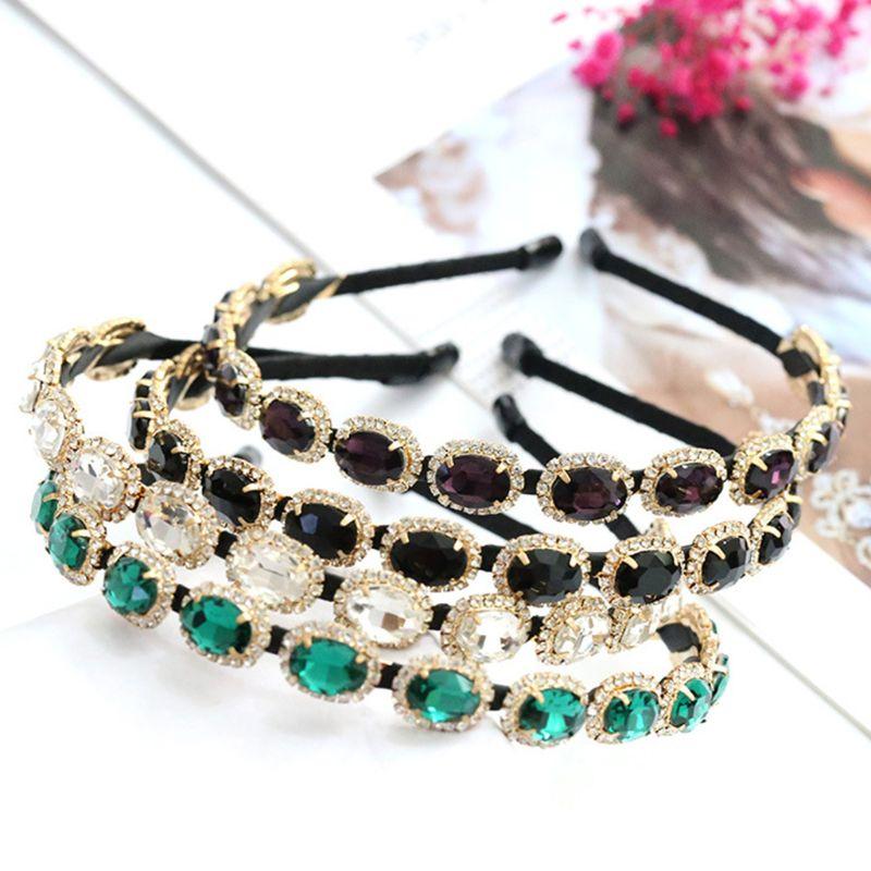Coreano do vintage jóias fina bandana barroco glitter strass gem cabelo hoop coroa feminino liga de diamante casamento headress