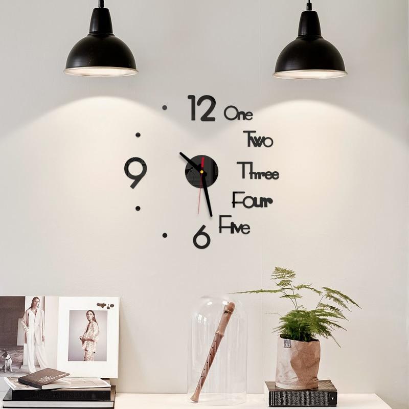DIY creativo medio Reloj de pared de acrílico Digital inglés 40cm de diámetro pegatinas de espejo sin marco decoración moderna de la cocina de la Oficina